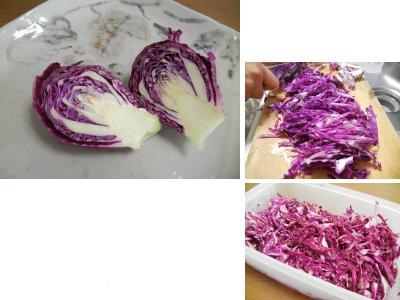 紫キャベツを酢漬けに