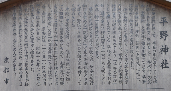 平野神社高札