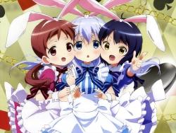 289078 alice_in_wonderland animal_ears bunny_ears gochuumon_wa_usagi_desu_ka_ heels joukawa_maya kafuu_chino natsu_megumi yamada_yukei43_