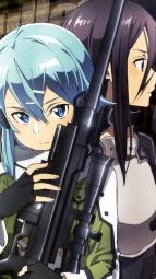 280080 adachi_shingo gun gun_gale_online kirito shino_asada sword_art_onlinei_
