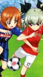 i_291630 anchovy carpaccio girls_und_panzer isuzu_hana itou_takeshi nishizumi_miho reizei_mako soccer