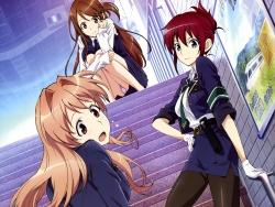43_293248 iida_nana koumi_haruka marufuji_hirotaka pantsu pantyhose rail_wars! sakurai_aoi_(rail_wars!) uniform