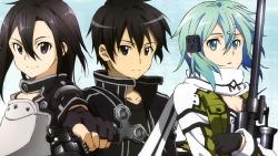 169_291650 cleavage gun gun_gale_online kirito shino_asada sword sword_art_online