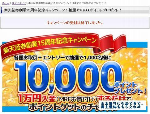 楽天証券 15周年キャンペーン 内容