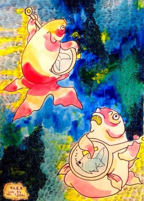 弁天金魚カラー原画1