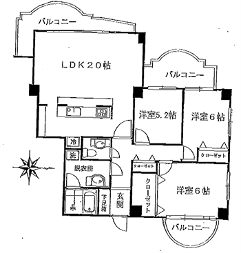 ブロンズストーン宇田川206号間取り図_R