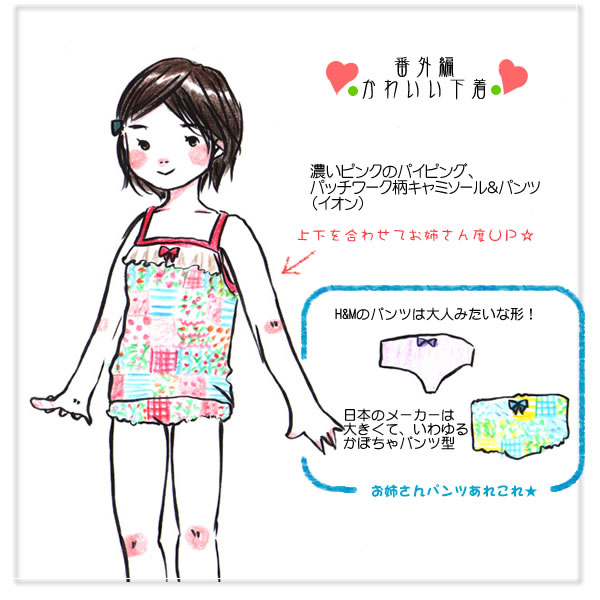 かわいい子供用下着―子供服コーディネイトをイラストで紹介―