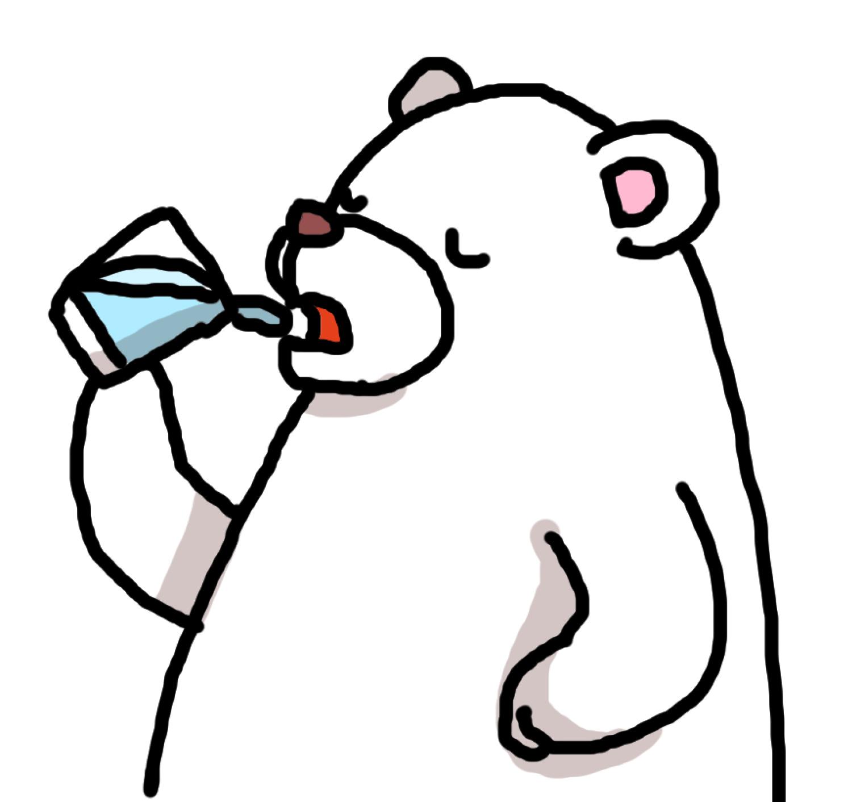白クマ水を飲む