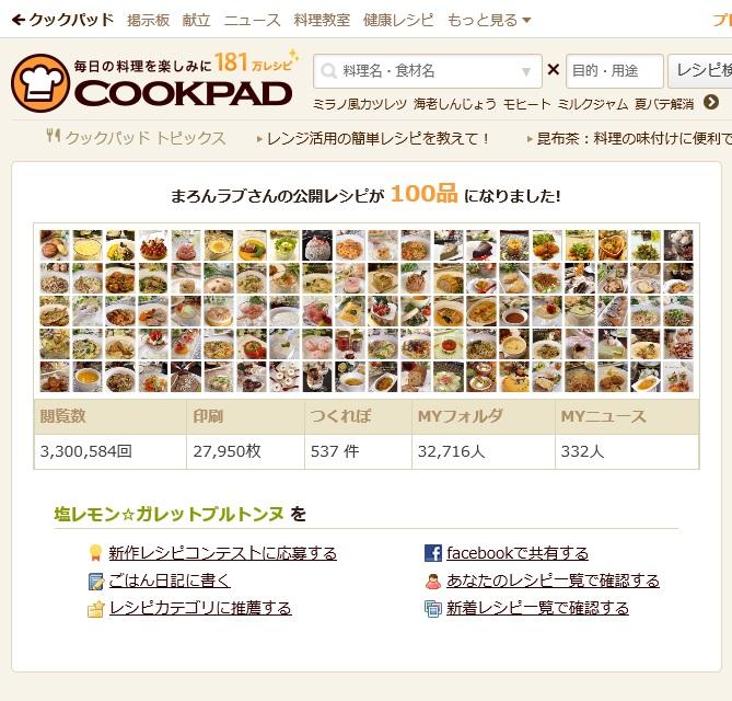 クックパッドレシピ100☆