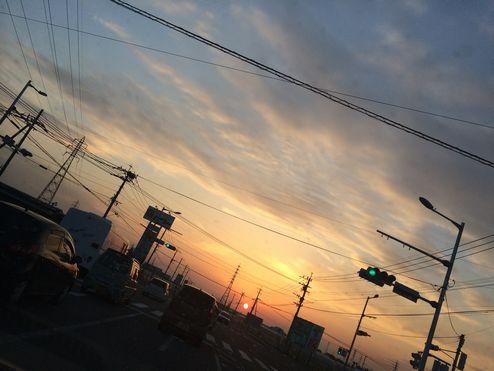夕陽がまぶしいw