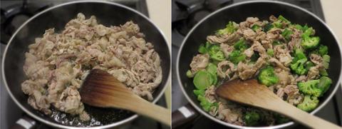 豚肉とブロッコリーを炒める