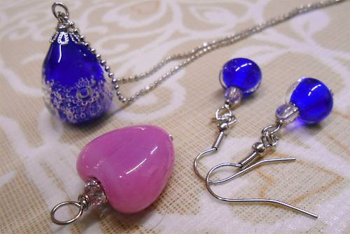 01 500 20140912 A様とR共に作ったとんぼ玉 necklace earring