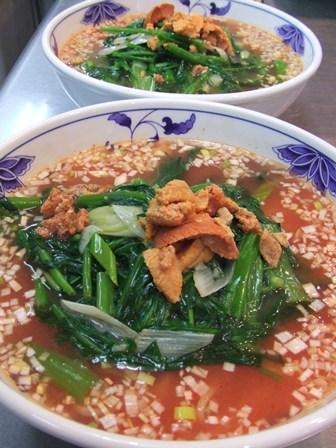 空芯菜の酸辣麺