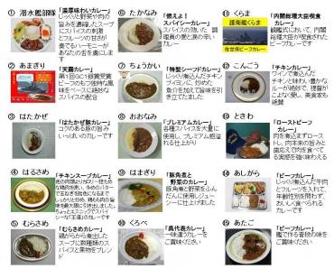 「護衛艦カレーナンバー1グランプリ in よこすか」第2潜水隊群(横須賀市)①潜水艦部隊②護衛艦あまぎり③はたかぜ④はるさめ⑤むらさめ⑥たかなみ⑦ちょうかい⑧おおなみ⑨はまぎり、くろべ、くらま、こんごう、ときわ、あしがら、あたご…