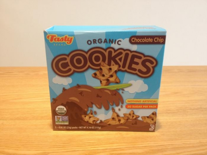 Tasty Brand, Organic Cookies, Chocolate Chip, 5 Packs, 0.81 oz (23 g) Each $4.25