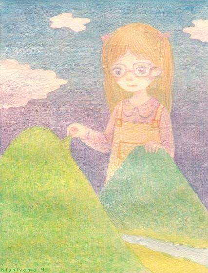 山と女の子 s