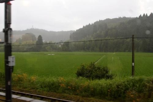 車窓 雨 田園