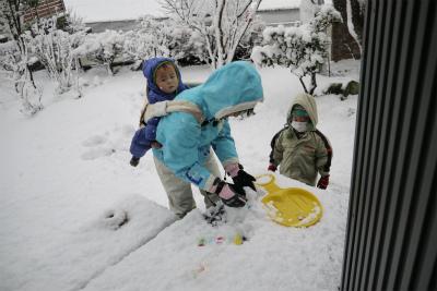 雪遊び予行練習