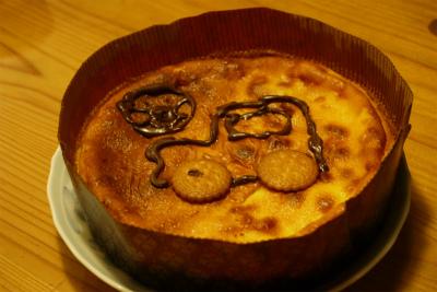 誕生日のトラクターチーズケーキ