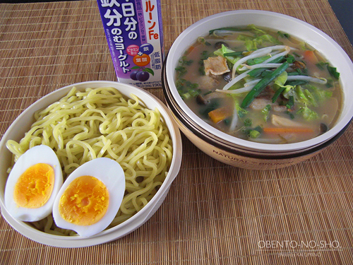 肉野菜炒めの醤油とんこつラーメン弁当01