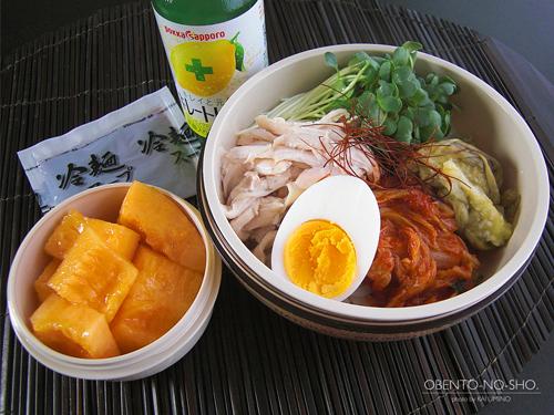 蒸し鶏と焼き茄子の盛岡冷麺弁当01
