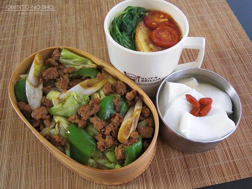 挽肉の回鍋肉弁当01