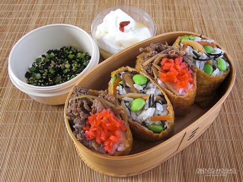 牛肉佃煮のいなり寿司弁当01