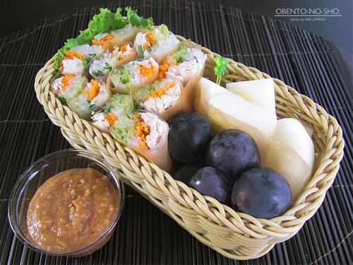 くるみ味噌の和風生春巻き弁当01