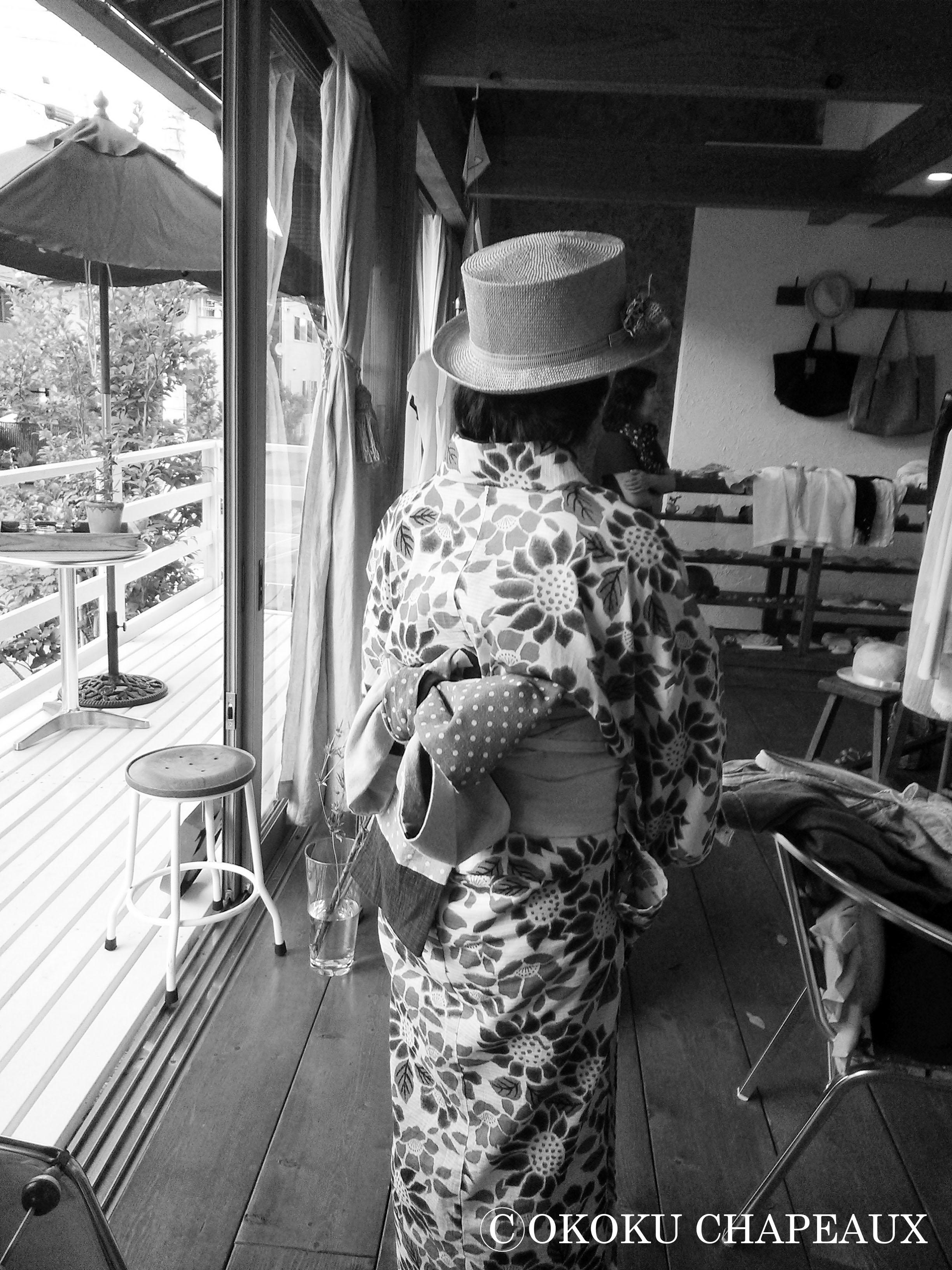 浴衣とカンカン帽