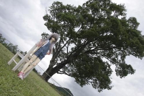 コナラの木の前で2