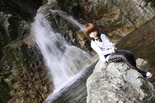 無名滝にて3