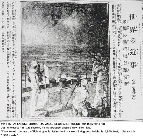 1912年、戦艦ミネソタ上での対空射撃訓練