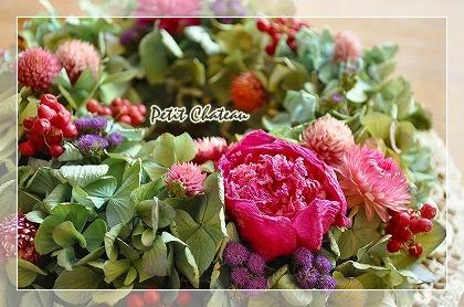 芍薬紫陽花リース