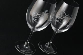 北海道苫小牧市でグラスに名前を彫刻