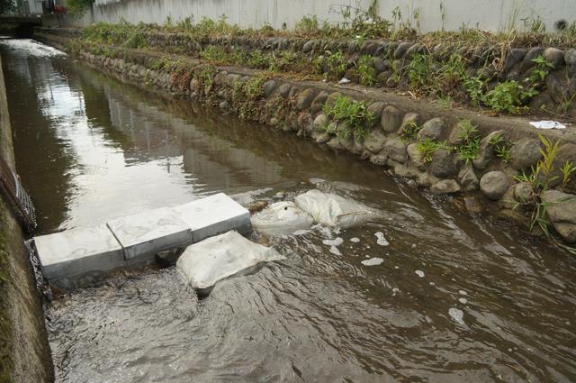 日野の用水路に簡易の堰をつける