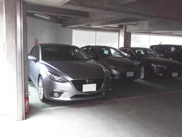 関東マツダのとある店の駐車場 新しいマツダがウジャウジャ