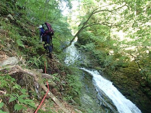 4段40m滝の高巻き