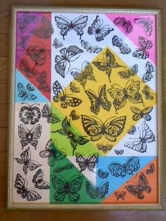 切り絵蝶々額1