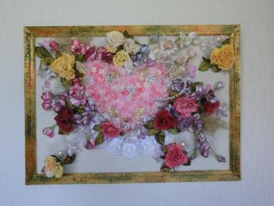 「ハートフルな花たち」額