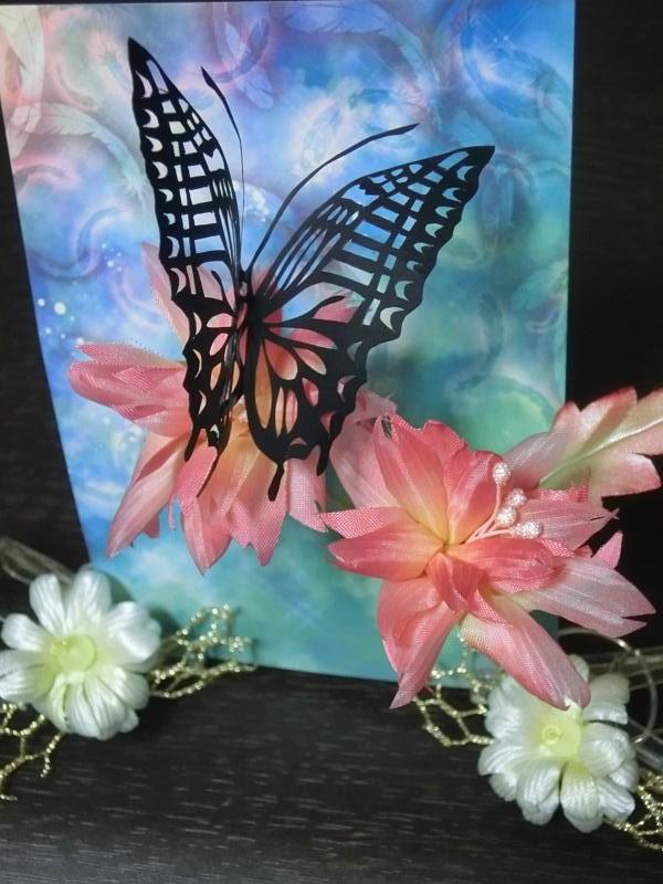 アートフラワー&切り絵蝶々 1