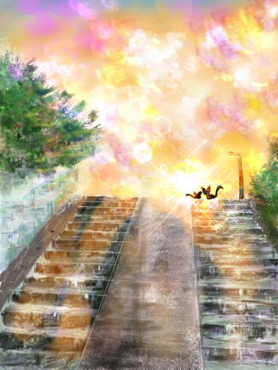 夕日の階段
