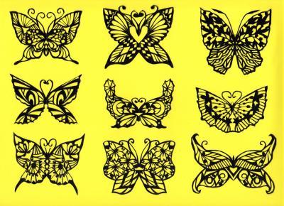 切り絵蝶々75