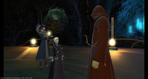 クエスト終了後、ギルドマスターと会話中。後ろのイケメンさんが気になります。