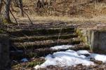 雪の残る階段