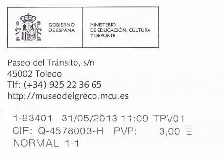2013年5月31日エル・グレコの家のチケット
