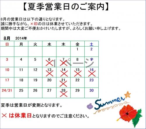 2014夏季休暇