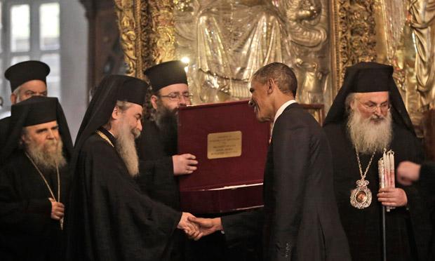 オバマさんの訪問(ベトレヘムのギリシア聖教へimage