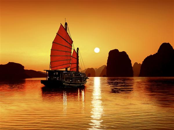 海の上の赤い舟image