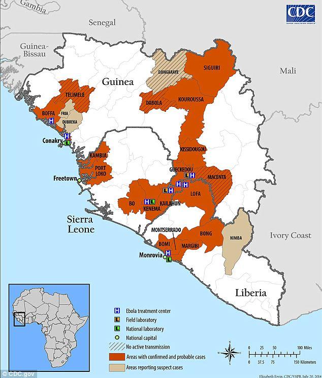 エボラ(感染地域マップ)image