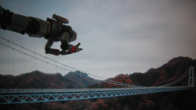 竜神峡大吊橋にジャイアントロボ現る